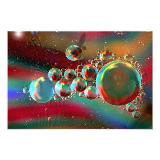 Burbujas y planetas abstractos del cuervo fotografia