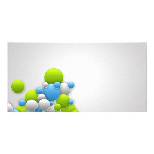 BURBUJEA digital gris gris claro blanco del verde  Tarjeta Fotografica Personalizada
