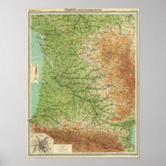 Burdeos al sudoeste de la sección de Francia Póster