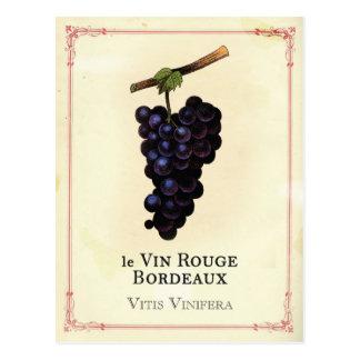Burdeos de las uvas de vino rojo tarjeta postal