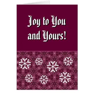 Burdeos y alegría blanca de los copos de nieve a tarjeta pequeña