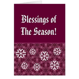 Burdeos y bendiciones blancas de los copos de tarjeta pequeña
