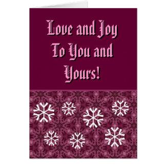 Burdeos y copos de nieve blancos amor y alegría tarjeta pequeña