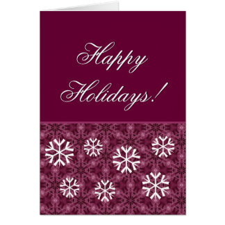 Burdeos y copos de nieve blancos buenas fiestas tarjeta pequeña