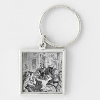 Burdett Riot, 1810 Silver-Colored Square Keychain
