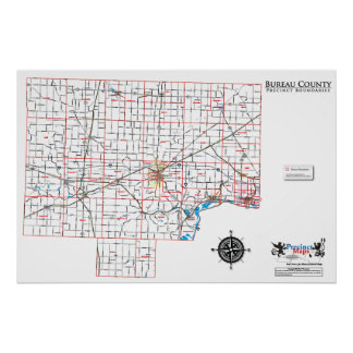 Bureau County Precinct Map Poster
