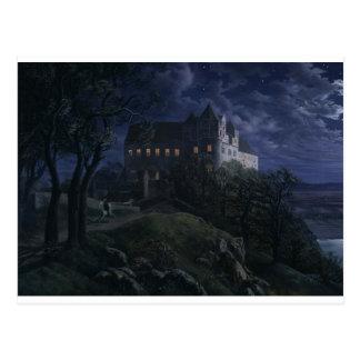 Burg Scharfenberg at Night 1827 Postcard