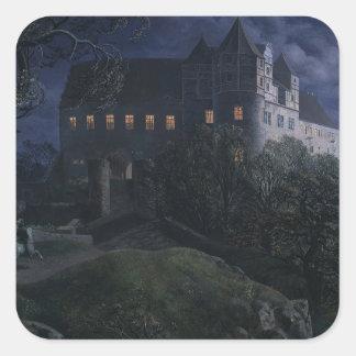 Burg Scharfenberg en la noche 1827 Pegatina Cuadrada