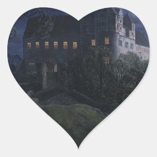 Burg Scharfenberg en la noche 1827 Pegatina En Forma De Corazón