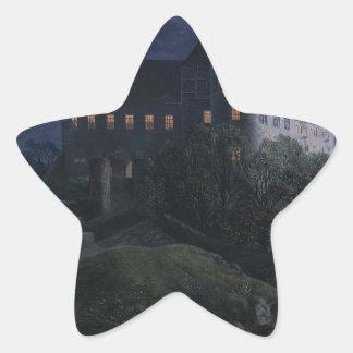 Burg Scharfenberg en la noche 1827 Pegatina En Forma De Estrella