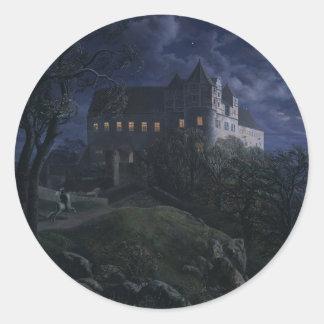 Burg Scharfenberg en la noche 1827 Pegatina Redonda