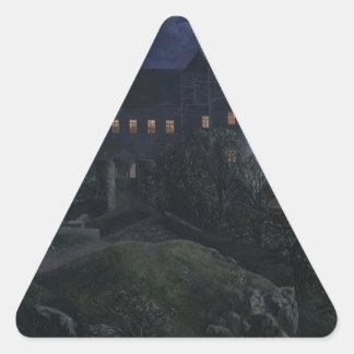 Burg Scharfenberg en la noche 1827 Pegatina Triangular