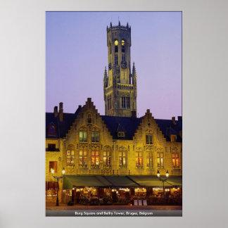 Burg Square and Belfry Tower, Bruges, Belgium Poster