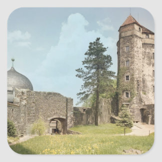 Burg Stolpen, torre de Cosel Pegatina Cuadrada