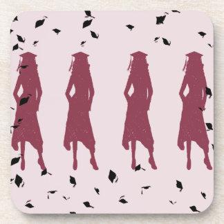 Burgandy and Black Grad Girl Silhouettes Coaster