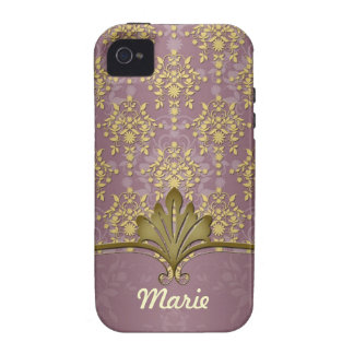 Burgandy and Gold Fancy Damask iPhone 4/4S Covers