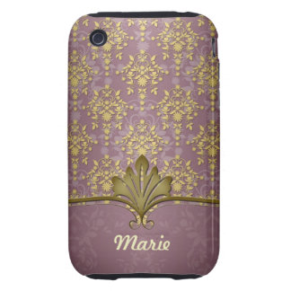 Burgandy and Gold Fancy Damask Tough iPhone 3 Covers