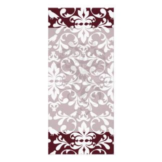 burgandy and white bird damask ornate pattern rack card template