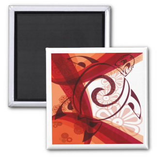Burgandy-Floral-Turtle 2 Inch Square Magnet