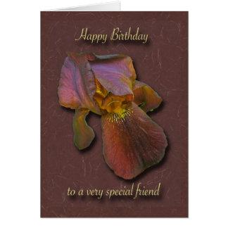 Burgandy Iris Birthday Special Friend Card