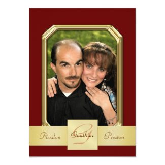 "Burgandy Modern Photo Frame Gold Ribbon Invitation 5"" X 7"" Invitation Card"