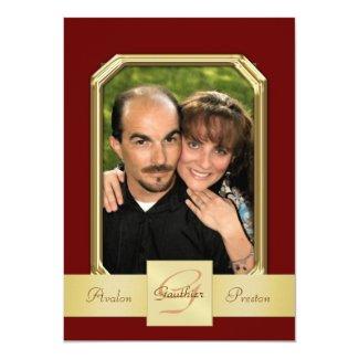 "Burgandy Modern Photo Frame Gold Ribbon Invitation 5"" X 7"" Invitation Card"