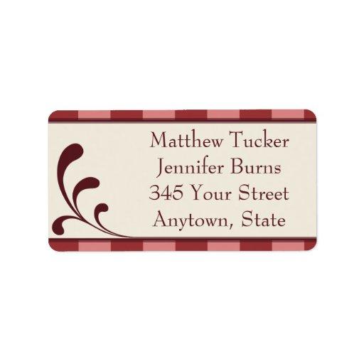 Burgandy & Pink Custom Envelope Address Labels