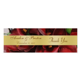 Burgandy Red Cali Lilies Floral Wedding Favor Tag Business Card Template
