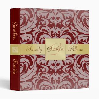 Burgandy Red Damask Gold Ribbon Family Binder