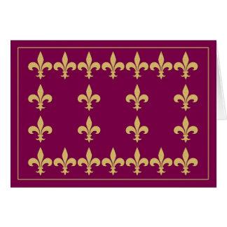 Burgandy with Gold Color Fleur-de-Lis Note Card