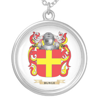 Burge Coat of Arms (Family Crest) Silver Plated Necklace