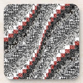 Burgello Quilt Pattern Customize Red Black Beverage Coaster