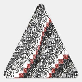 Burgello Quilt Pattern Customize Red Black Triangle Sticker