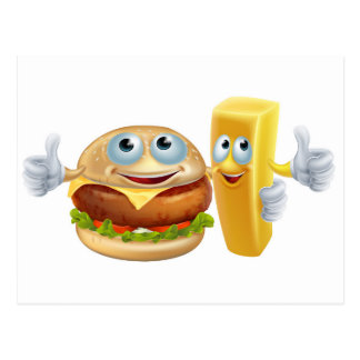 Burger and chip characters postcards