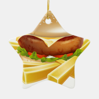 Burger and chips or french fries ceramic ornament