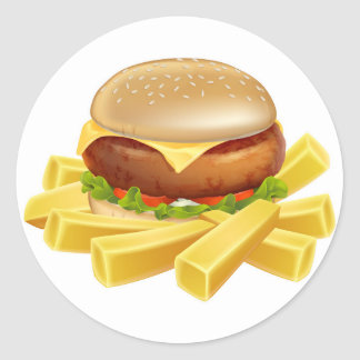 Burger and chips or french fries sticker