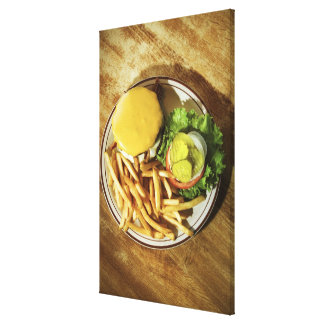 Burger and french fries canvas print