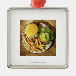 Burger and french fries metal ornament