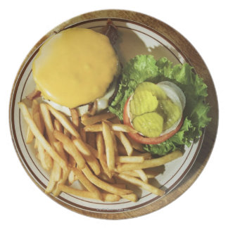 Burger and french fries dinner plate