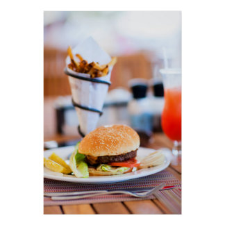 Burger and french fries poster