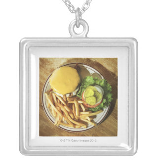 Burger and french fries square pendant necklace