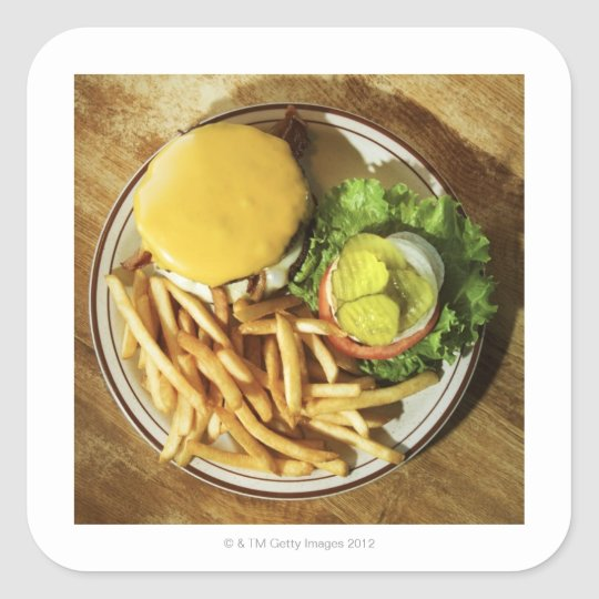 Burger and french fries square sticker