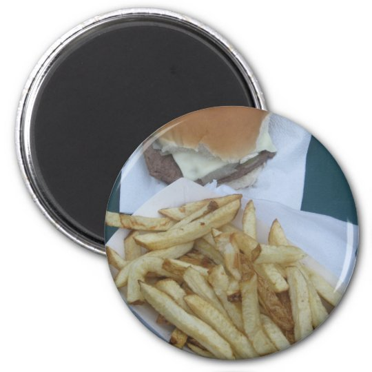 Burger and Fries 2 Inch Round Magnet