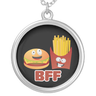 Burger And Fries Best Friends Forever Round Pendant Necklace