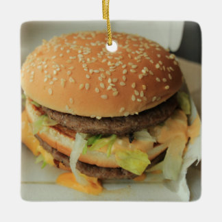 burger and fries ceramic ornament
