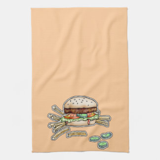 BURGER and FRIES KITCHEN TOWEL