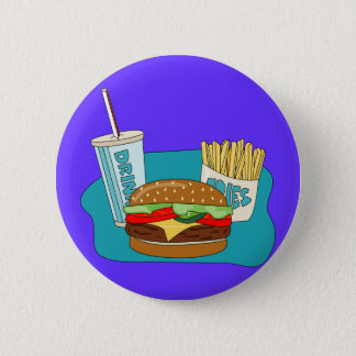 Burger and Fries Pinback Button