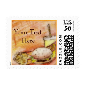 Burger and Fries Postage