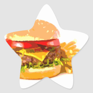 Burger and Fries Valentines Day Star Sticker