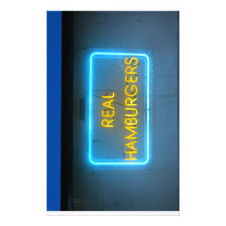 Burger bar funky neon sign stationery